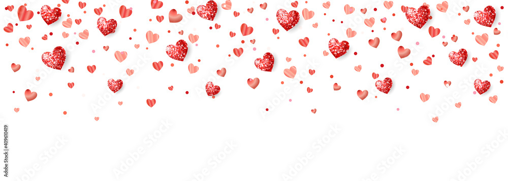 Fototapeta Valentine's day background with red glitter hearts. Falling confetti frame, border. Holiday decoration isolated on white. For wedding and mother's day banners, party posters. Vector.