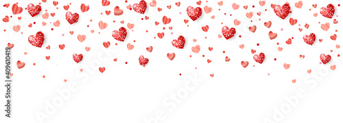 Obraz Valentine's day background with red glitter hearts. Falling confetti frame, border. Holiday decoration isolated on white. For wedding and mother's day banners, party posters. Vector. - fototapety do salonu