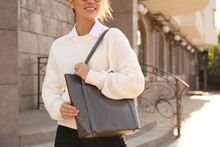 Woman With Stylish Shopper Bag Outdoors, Closeup