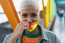 Young Woman Wearing Gay Pride Mask Symbol Of Lgbtq Social Movement