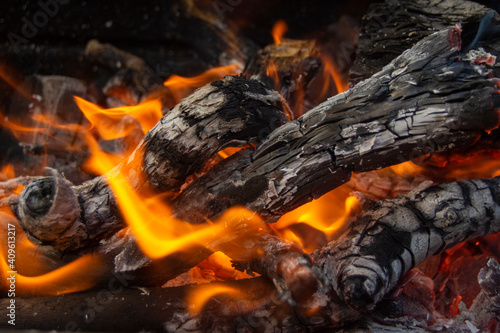 Canvas Print Leña ardiendo en la barbacoa