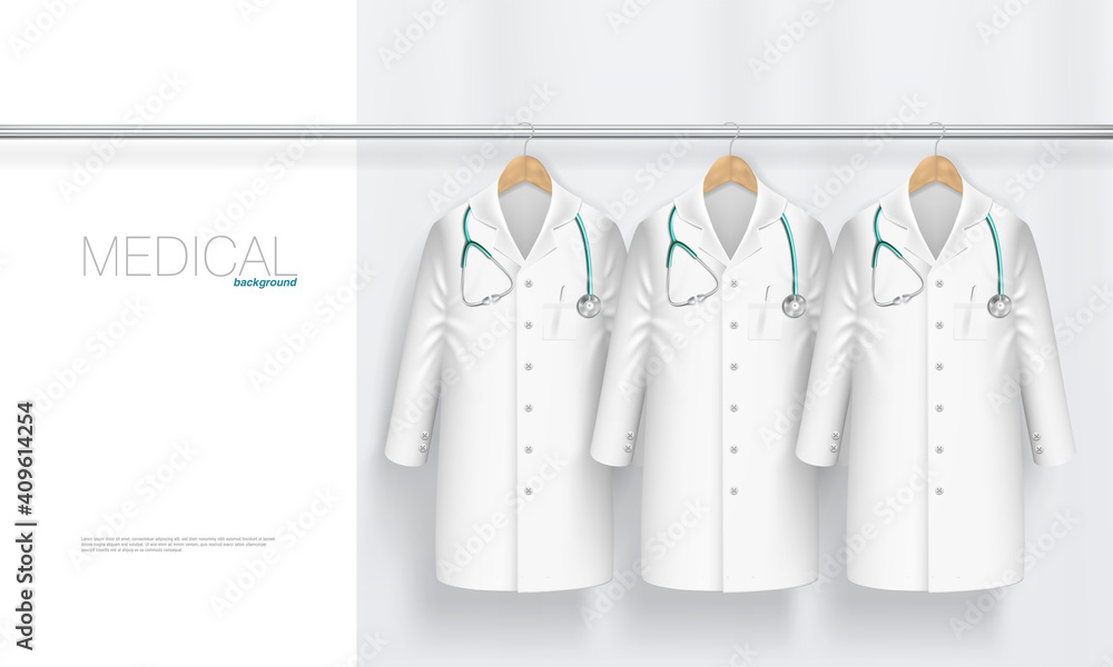 Fototapeta 3D Medical Gown With Stethoscope On Hanger