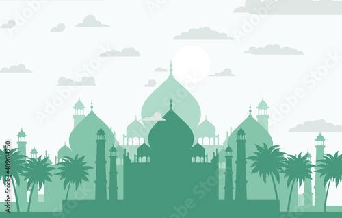 simple design city silhouette illustration Fotobehang