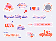 Valentine Day Stickers And Elements. Love Concept. Illustrations For Social Network, Web Design, Mobile Messages, Social Media, Online Communication, Cards And Printed Material.