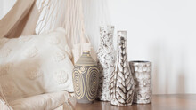 Group Of Mid Century Modern Ceramic Vases - Grey And Beige Color - With A Hammock Chair And Canvas Pillow