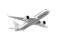 3D White Glossy Commercial Jet Airplane In The Sky