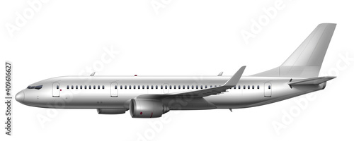 Canvas Print Blank Glossy White Airplane Or Airliner Side View