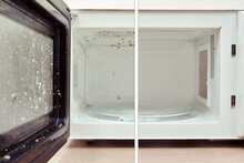 Cleaning A Dirty Tray Of The Microwave Oven Before And After The Problem Is Resolved.