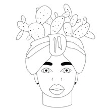 African Woman With Turban And Cacti. Portrait. Sicily Moor Head Vase. Black And White Linear Illustration For Coloring. Vector Illustration. T-shirt Print Design