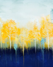 Drawing Of Yellow Abstract Trees With Splashes Of Watercolor
