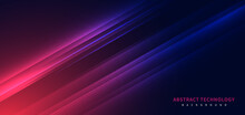 Technology Futuristic Background Striped Lines With Light Effect On Red Blue Background. Space For Text.