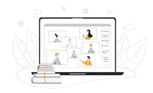 Webinar. Online Education. Digital Learning. People Talking To Each Other On Computer Screen. Teacher And Students. Internet Lecture Or Online Video Training. Vector Color Line Art  Illustration.