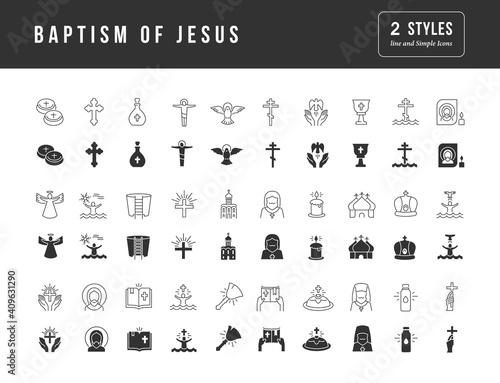 Carta da parati Set of simple icons of Baptism of Jesus