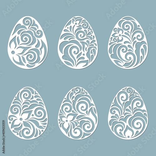 Obraz leaves, flowers, carved in egg. Vector illustration. Easter eggs for Easter holidays. Set of paper Easter egg stickers. Laser cut. Vector illustration. Pattern for the laser cut, plotter and screen - fototapety do salonu