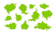 Smelling Green Cartoon Smoke Or Fart Clouds Flat Style Design Vector Illustration. Bad Stink Or Toxic Aroma Cartoon Smoke Cloud Isolated On White Background.