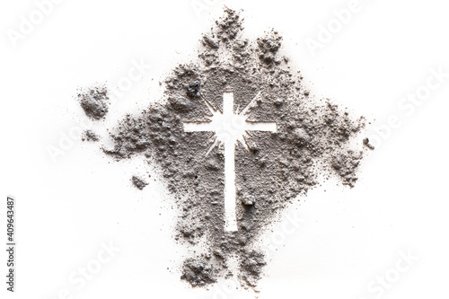 Obraz na plátně Ash Wednesday and Lent cross made of dust as Jesus suffering, christian religion