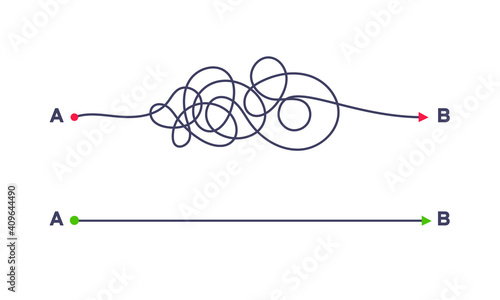 Fotografía Complex and easy simple way from point A to B vector illustration