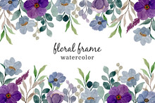 Purple Watercolor Floral Frame. Abstract Floral Background
