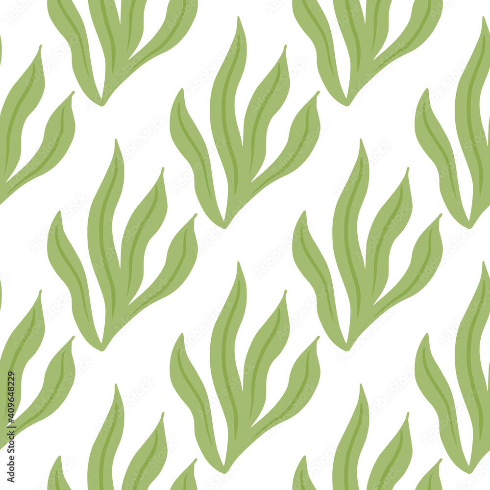 Fototapeta Isolated seaweeds greenseamless doodle pattern in doodle style. White background. Flora aquatic backdrop.