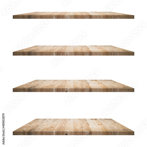 Fotografering 4 Wood shelves table isolated on white background and display montage for product