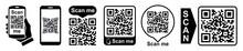 Set QR - Quick Response Code, Inscription Scan Me, Qr Code For Smartphone, Payment, Mobile App Scan, QR Code Collection – Stock Vector