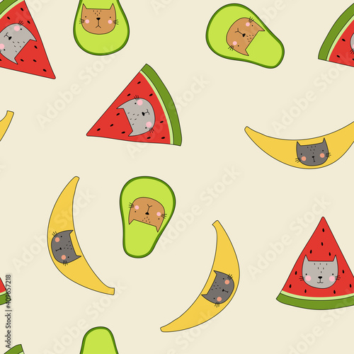Cats in banana, avocado, watermelon vector seamless pattern. Funny children's pattern. Funny kittens backdrop. Cartoon vector background . For the design of textiles, fabric, wallpaper, wrapping paper