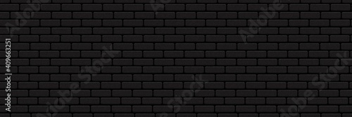 Valokuvatapetti Vector realistic isolated seamless pattern of black brick wall background for template and layout decoration