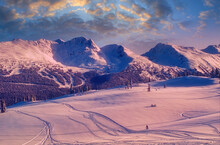 Skiing At Whistler Mountain At Sunrise