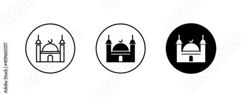Stampa su Tela Islamic mosque icon, Religion, Islamic, Mosque, Prayer, Muslim mosque, islam ico