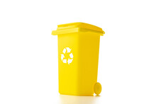 Separation Recycle. Yellow Dustbin For Recycle Plastic Trash Isolated On White Background. Bin Container For Disposal Garbage Waste And Save Environment.