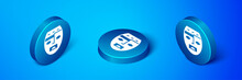 Isometric Mexican Mayan Or Aztec Mask Icon Isolated On Blue Background. Blue Circle Button. Vector.