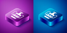Isometric Ancient Amphorae Icon Isolated On Blue And Purple Background. Square Button. Vector.