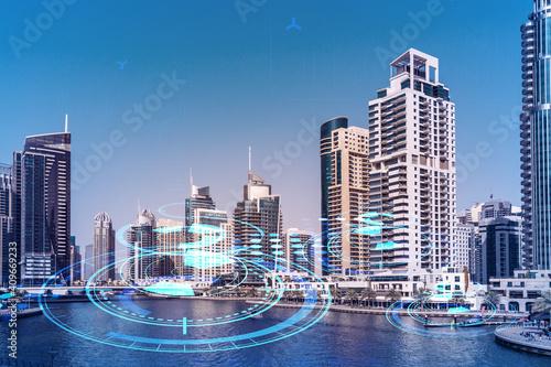 Fotografie, Obraz Skyscrapers of Dubai business downtown