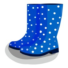 Vector Flat Illustration Of Rubber Boots. Blue Boots With White Polka Dots On A White Background.