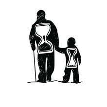 Dad And Son Silhouette With Hourglass Hand-drawn Vector Illustration. Time Is Priceless. Protect Parents. EPS 10