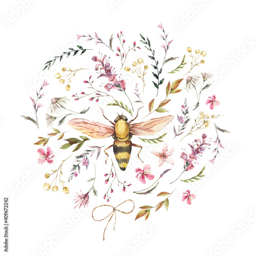 Obraz Watercolor bee illustration. Vintage wildflowers wreath. Natural botanical illustration - fototapety do salonu
