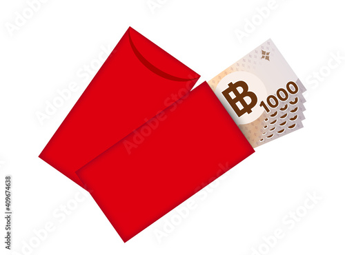 Fototapeta Red packet and money banknote thai baht, Red envelope for New year China, Chines