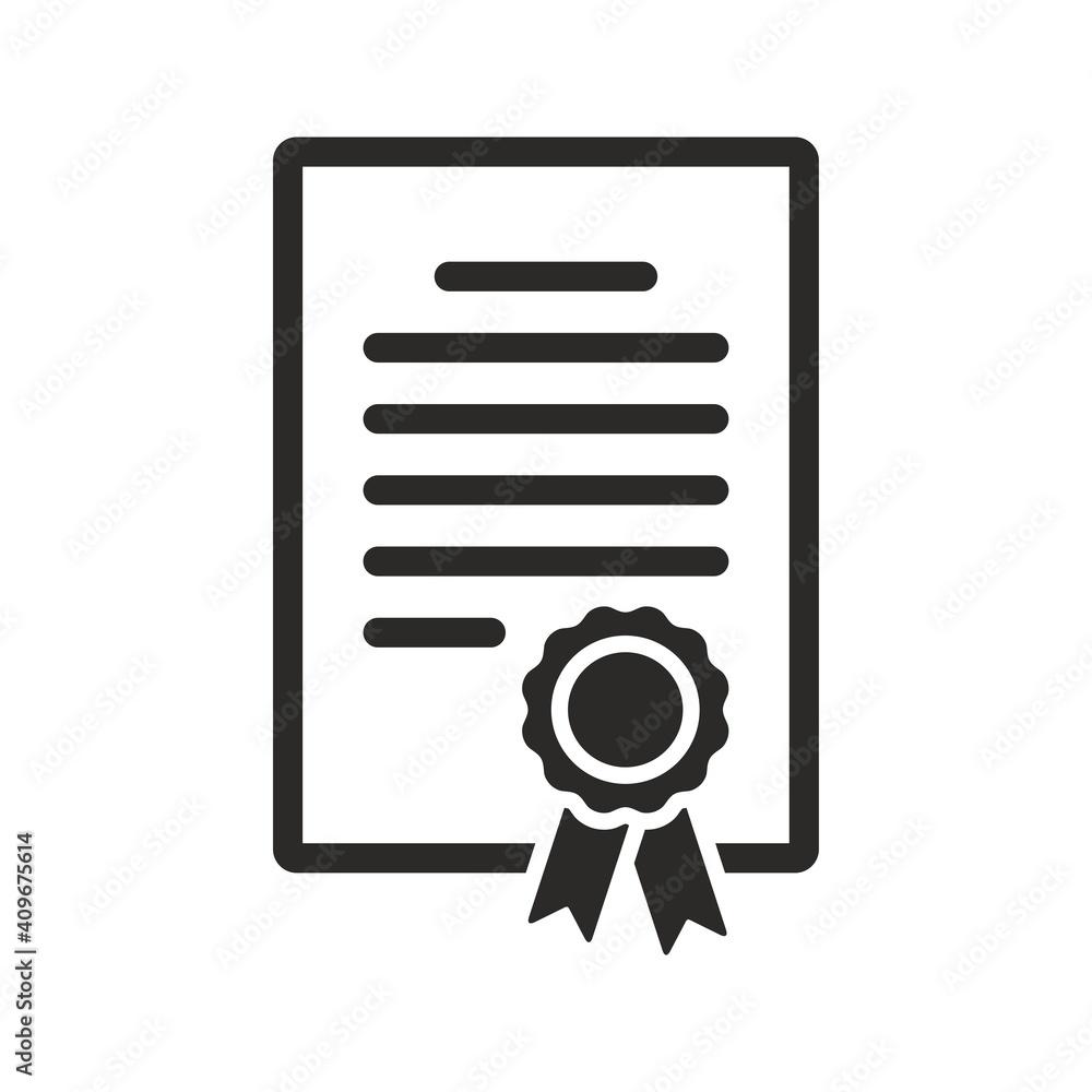 Fototapeta Certificate icon. Achievement, award, grant, diploma. Vector icon isolated on white background.