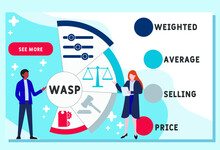 Vector Website Design Template . WASP - Weighted Average Selling Price Acronym. Business Concept Background. Illustration For Website Banner, Marketing Materials, Business Presentation, Online Adverti