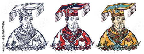 Fototapeta Chinese emperor portrait. Ancient China history and culture. Old school tattoo vector art. Hand drawn cartoon character set. Isolated on white. Traditional tattooing style obraz