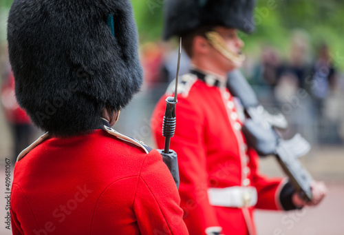 Cuadros en Lienzo British army guard in red tunic and bearskin on parade at the Trooping of the Co