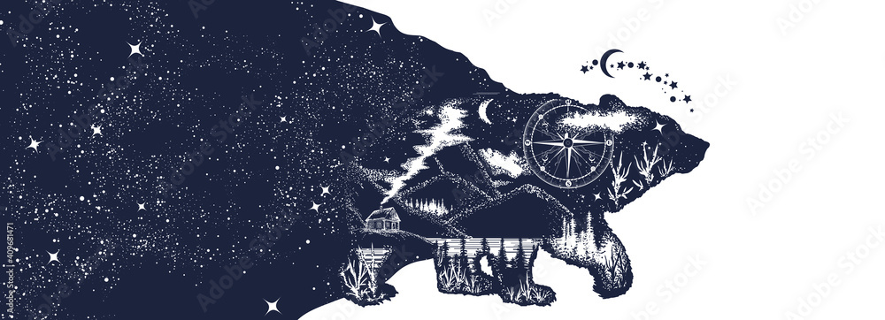 Fototapeta Animals in universe. Esoteric grizzly bear and night sky. Double exposure. Symbol of adventure, tourism and meditation. Black and white surreal graphic
