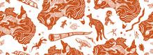 Australia. Old School Tattoo Background. Australian Map, Kangaroo And  Didgeridoo. Tradition And Culture