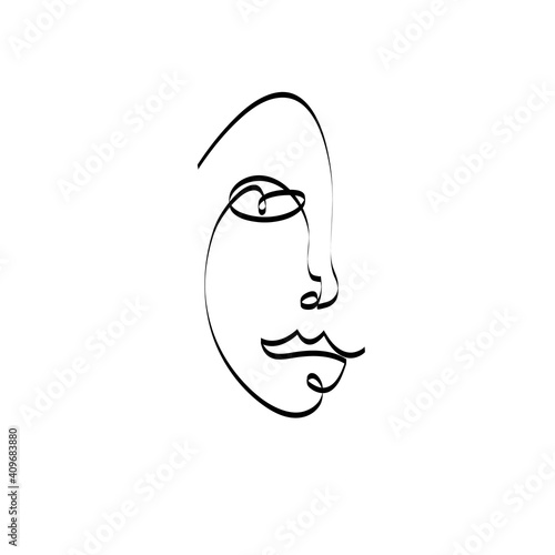 Continuous line woman portrait pictured on an abstract background © tanor27