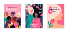 International Women's Day Posters Set. Background With Different Woman Face And Flowers. 8 March Card, Flyer, Invitation Or Brochure Cover Template For Empowerment Movement. Vector Illustration.