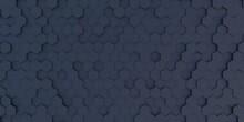 3D Illustration Of Abstract Black Hexagonal Background, Hexagon Shape Wallpaper
