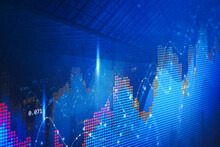 Concept Of Stock Market And Fintech Forex Concept. Blurry Blue Digital Charts Over Dark Blue Background. Futuristic Financial Interface. 3d Render Illustration. City Double Exposure