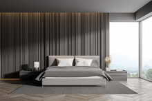 Corner Of Master Bedroom With Grey Wooden Walls, Panoramic Window With Countryside View, Comfortable King Size Bed Standing On Gray Carpet And Wood Floor. 3d Rendering