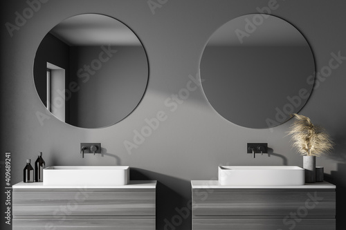 Fototapeta Modern bathroom with gray walls, double sink with round mirrors and left window light. 3d rendering obraz na płótnie