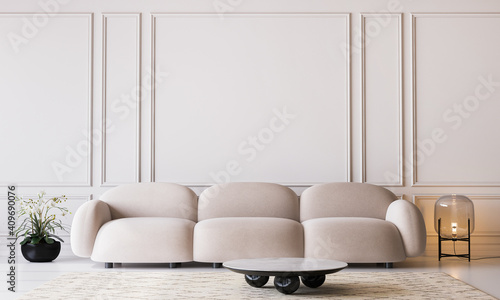 White living room in modern design, minimal clear space on empty classic background, 3d render
